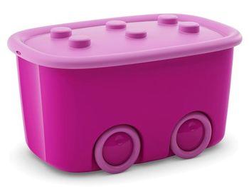 Container cu roti pentru jucarii 46l, 58X39XH32cm, pink