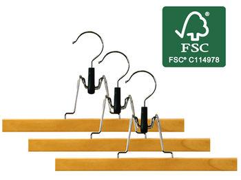 купить Набор вешалок для брюк FSC 3шт, 28cm, дерево в Кишинёве