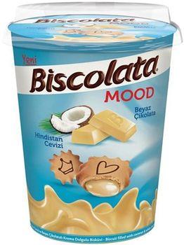 """Печенье с белым шоколадом и кокосом """"Biscolata Mood Coconut """" 125гр"""