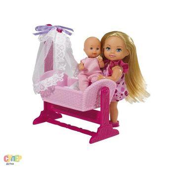 купить Simba Кукла Еви с младенцом в кроватке в Кишинёве