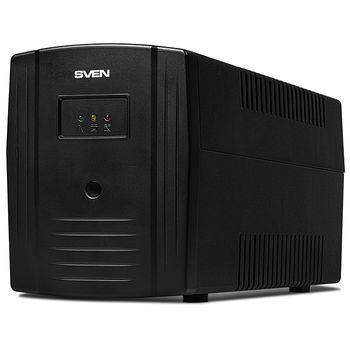 SVEN Pro 1000 (USB), Line-interactive UPS with AVR, 1000VA /720W, 3x Schuko outlets, 2x7AH, AVR: 175-280V, USB, RJ-45, Cold start function, Black