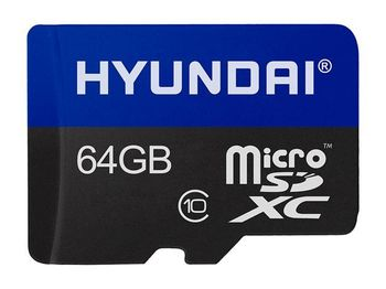 64GB microSD Class10 UHS-I + SD adapter  Hyundai Technology, Up to: 25MB/s