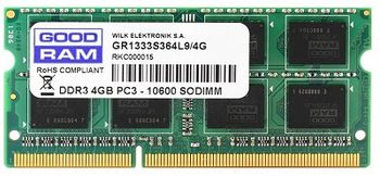 4GB DDR3-1600 SODIMM  GOODRAM, PC12800, CL11,  1.35V