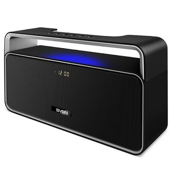 SVEN PS-185, Bluetooth Portable Speaker, 10W RMS, Support for iPad & smartphone, Bluetooth, LED display, clock and alarm, FM tuner, USB & microSD, built-in lithium battery -2000 mAh, AUX stereo input, Headset mode, USB or 5V DC power supply, Black