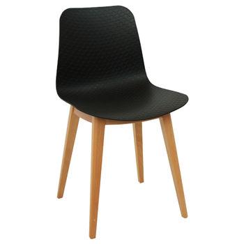 cumpără Scaun din plastic şi picioare de lemn 470x450x800 mm, negru în Chișinău