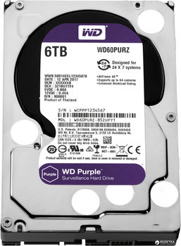 "3.5"" HDD 6.0TB  Western Digital WD60PURZ Caviar® Purple™, IntelliPower, 64MB, SATAIII"