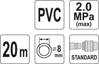 купить Пневматический шланг армированный с быстроразъемным соединением 8мм * 20м в Кишинёве