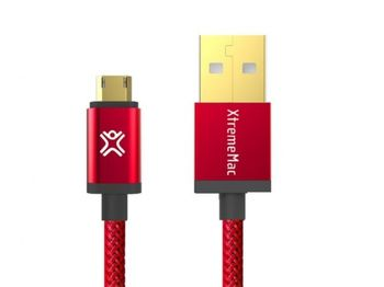 Cable microUSB2.0 1.2m - XtremeMac Reversible microUSB Premium cable, Red, Full Reversible (USB and microUSB), PET structure, Gold plated connectors