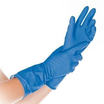 Перчатки бытовые BETTINA SOFT, латексные, синие, 30СМ, размер L, HYGOSTAR, FM