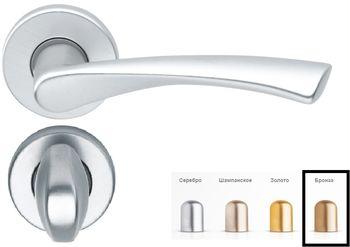 Дверная ручка на розетке Milano-F4 бронза + накладка WC