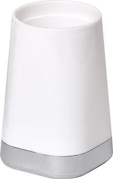 Стакан для зубных щeток White с хромир базой, PP