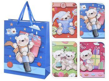 """Пакет для детских подарков """"мишка"""" 32X26X10cm, бумага, 4 диз"""