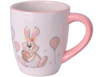 """Чашка """"Кролик с шариком"""" 370ml 12cm, розовая, керамика"""