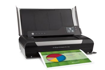 HP Officejet 150 Mobile All-in-One Print/Copy/Scan, Up to 18/22ppm, 4800x1200dpi, 64MB, USB 2.0, PictBridge, Bluetooth 2.0+EDR, Li-Ion Battery, Duty cycle monthly 500 pages