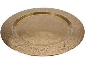 """Поднос металлический 33cm """"под золото"""", мелкие квадраты"""