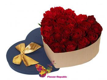 купить 25 красных роз в коробке в форме сердца в Кишинёве