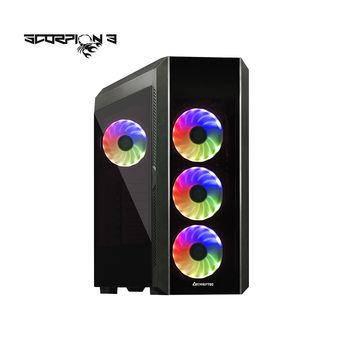 Case ATX Miditower Chieftec Gaming Scorpion III GL-03B-OP Black no PSU, 2x USB 3.1, 1x USB 2.0, Audio-out, 4x 120mm A-RGB Rainbow LED fan, 2 tempered glass, RGB Control HUB, (carcasa/корпус)