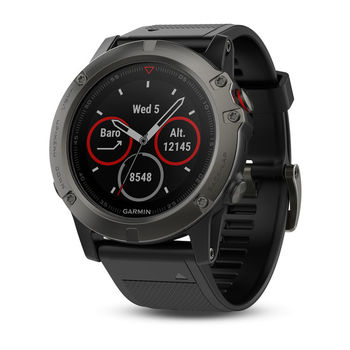 "GARMIN fenix 5X Sapphire Grey with black band, Multisport GPS Watch for Sport, 1.2"", Water rating 10ATM, Battery life Smart mode: Up to 2 weeks, 64MB, GPS, Compass, Bluetooth, Smart, ANT+, Wifi, Smart notifications and Activity Tracking Features, 85g"