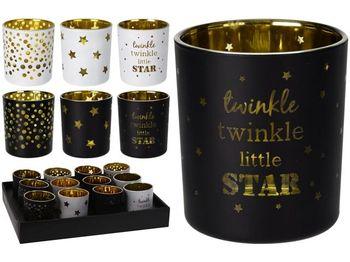 """Подсвечник стеклянный стакан """"Star"""" 6.8Х5.5cm, черный/белый"""