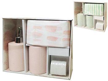 Набор для ванной керамический 3ед + шторка 180X180cm, 3 цв