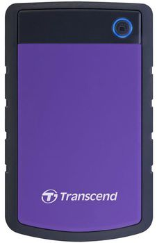 "2.5"" External HDD 2.0TB (USB3.0), Transcend StoreJet 25H3P, Purple/Black, MIL-STD-810F, Durable anti-shock RUBBER outer case,  Advanced internal hard drive suspension system, One Touch Backup, Quick Reconnect Button, compatible with Mac OS X"