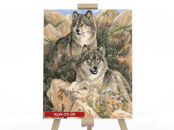 Картина на номера размером 30х40 Семья волков