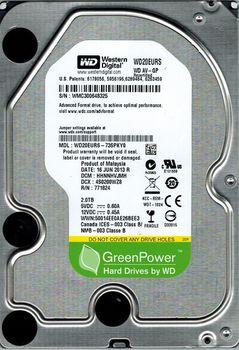 "3.5"" HDD  2.0TB -SATA- 64MB  Western Digital ""AV-GP (WD20EURS)"""