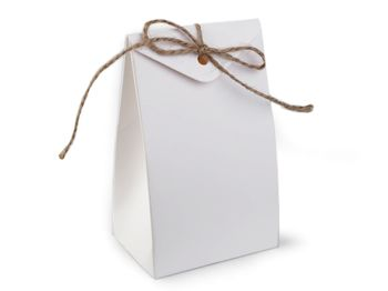 Cutie cadou cu șnur / alb