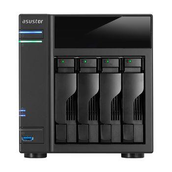 "4-bay NAS Server  ASUSTOR ""AS6104T"", Intel Celeron N3050 (Dual-Core) 1.6-2.16GHz, 2GB DDR3L(Max.8GB), 2.5""/3.5""SATA x4 (Hot Swap), USB3.0 x3, USB2.0 x2, eSATA x2, Gigabit LAN x2, HDMI, S/PDIF, AES-NI, Hard. transcoding, IR, Surveillance: <25 (4 Free)"