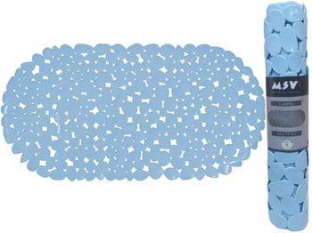 Covoras pentru cada de baie 39X99cm oval MSV Galets, albastru deschis, PVC