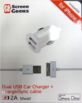 cumpără Încărcător cu fir Screen Geeks Auto 2A dual сu cablu p/u iPhone 4,4S / iPad 10 Watt, alb în Chișinău