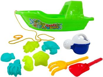 Набор игрушек для песка в лодке 10ед, 33cm
