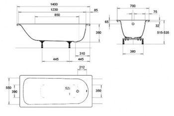 Ванна прямоугольная стальная Kaldewei Eurowa 140