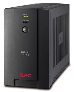 APC Back-UPS BX1400U-GR, 1400VA/700W, AVR, 4 x CEE 7/7 Schuko (all 4 Battery Backup + Surge Protected), RJ-11 Data Line Protection, LED indicators, PowerChute USB Port