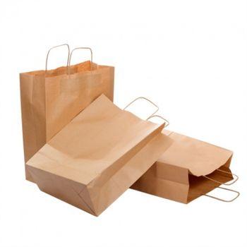 Бумажные крафт пакеты с кручеными ручками 27*12*33см