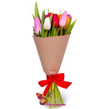 купить Монобукет 11 Тюльпанов микс в Кишинёве