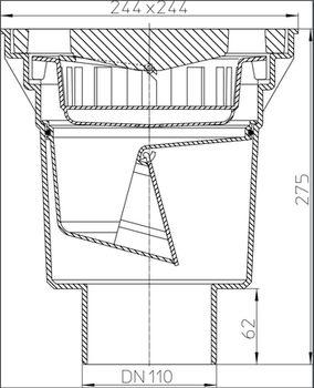 купить Трап наружный вертик. ф.110 чугун, HL606/1, 240 х 240мм, h=270mm, 7т в Кишинёве