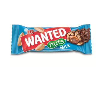 cumpără Baton cu nuga, caramel, arahide cereale crocante şi glazură de ciocolată cu lapte Eti Wanted Nuts Milk, 45 gr. în Chișinău