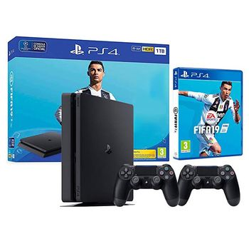 Game Console  Sony PlayStation 4 1TB Black + Fifa 19 + Dualshock 4, 2 x Gamepad (Dualshock 4), 1 x Game (Fifa 19)