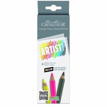 Набор карандашей неоновые 5 цв+ 1 графитовый  MEGA Cretacolor