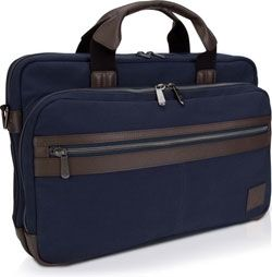 """Dell NB bag 15,6"""" - Topload Canvas, engineered with thick natural canvas to protection your laptop, tablet and other valuables. Built to last, the bag is bolstered by natural leather accents and strong zippers that resist wear-and-tear, Navy blue"""