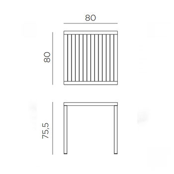 Стол Nardi CUBE 80 ANTRACITE vern. antracite 48052.02.000 (Стол для сада террасы балкон)