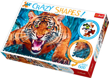 """Пазлы """"600 Crazy Shapes"""" - Facing a tiger"""", код 42157"""