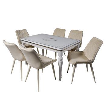 Столовый набор DT A20 белый + 6 стульев DC 6018 слоновая кость велюр