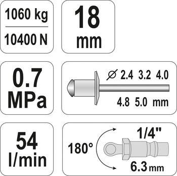 купить Пневматическая клепальная машина YATO 2,4-5 мм YT-36171 в Кишинёве