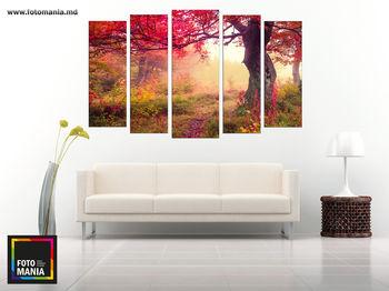 Картина напечатанная на холсте - Триптих из 5 частей Природа 0013