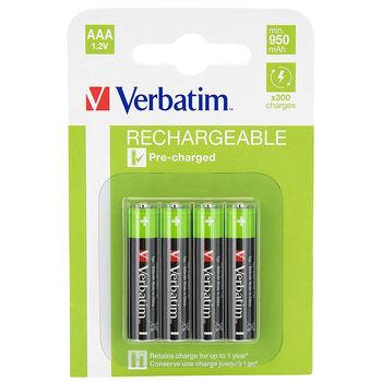 Verbatim AAA Rechargeable Battery  950mAh  4 Pack 49942