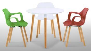 cumpără Masă rotundă cu suprafaţa din MDF, picioare din lemn, 800x750 mm, alb în Chișinău