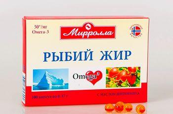 Рыбий жир с маслом шиповника капсулы 0,37г №100