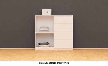 купить Комод Samos 1F S/4 (дуб Lefkas / белый мат) в Кишинёве